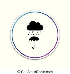 parapluie, goutte, isolé, pluie, button., arrière-plan., vecteur, illustration, cercle blanc, nuage, icône