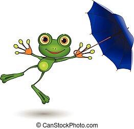 parapluie, grenouille