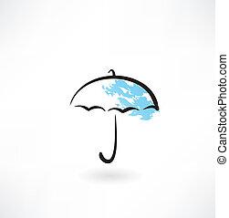 parapluie, grunge, icône