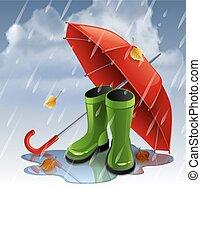 parapluie, gumboots., automne, arrière-plan vert, rouges