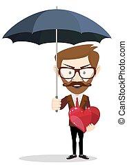 parapluie, heart., personne, tenue, protéger, homme