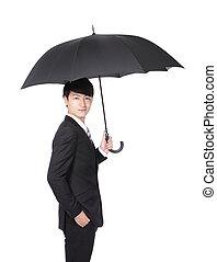 parapluie, homme affaires