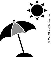 parapluie, icône, plage