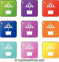 parapluie, icônes, mobile, vente, charrette, nourriture