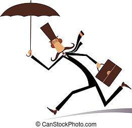 parapluie, illustration, homme, isolé, jour venteux