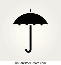 parapluie, illustration., isolé, arrière-plan., vecteur, blanc, icône