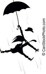 parapluie, illustration, isolé, venteux, homme, jour