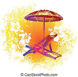 parapluie, &, -, illustration, main, exotique, vecteur, fond, dessiné, chaise, plage