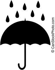 parapluie, illustration., pluie, silhouette., vecteur, icône
