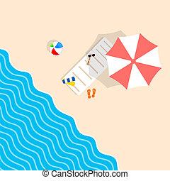 parapluie, illustration, remplir, loisir, transat, plage