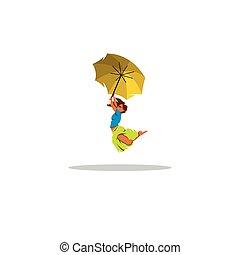 parapluie, illustration., signe., voler, freedom., jaune, gai, vecteur, girl