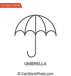parapluie, illustration, vecteur, mince, icon., ligne