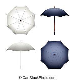 parapluie, illustration, vecteur, noir, publicité, vide, blanc, marchandise