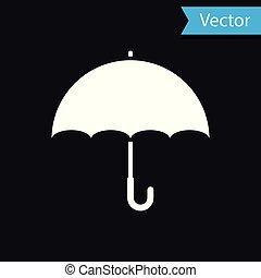 parapluie, isolé, illustration, arrière-plan., vecteur, noir, blanc, icône