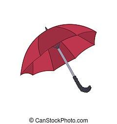 parapluie, isolé, illustration, dessin animé, fond, blanc, style., rouges