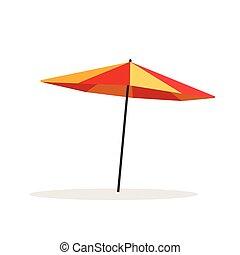parapluie, isolé, illustration, vecteur, fond, plage blanche