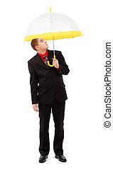 parapluie, jaune, homme
