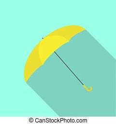 parapluie, jaune, icône