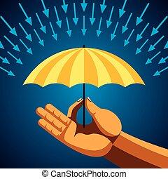 parapluie, jaune, main