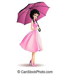 parapluie, jeunes femmes