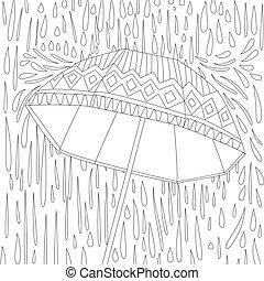 parapluie, livre, coloration, ton, mignon