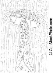 parapluie, livre, gentil, coloration, girl, ton