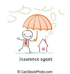 parapluie, maison, sur, agent, tenue, assurance