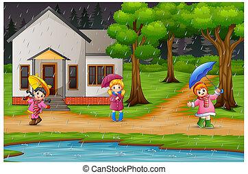 parapluie, maison, trois, pluie, porter, sous, devant, girl, dessin animé