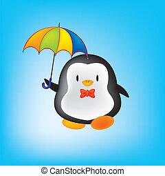 parapluie, manchots