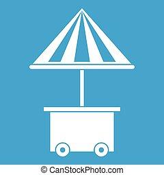 parapluie, mobile, vente, charrette, nourriture, blanc, icône