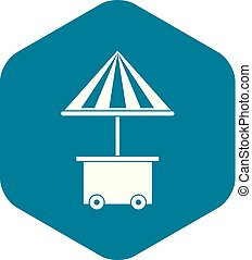 parapluie, mobile, vente, charrette, nourriture, icône