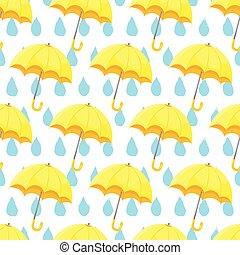 parapluie, modèle, seamless, main, raindrops., dessiné