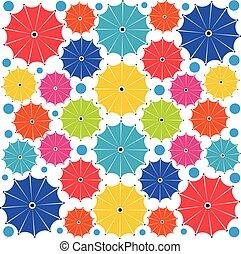 parapluie, modèle, -, seamless, multicolore, vecteur, fond