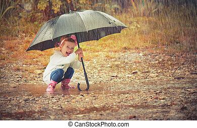 parapluie, nature, pluie, dorlotez fille, jouer, heureux