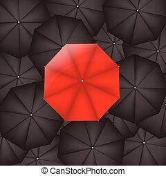parapluie, noir, contre, parapluies, rouges