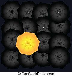 parapluie noir, jaune
