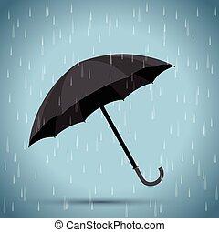 parapluie noir, pluie, fond