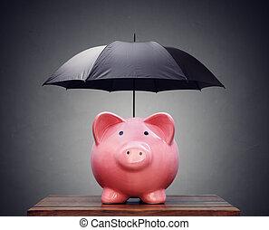 parapluie, ou, protection, porcin, financier, assurance, banque