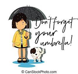 parapluie, oublier, pas, locution, girl, ton