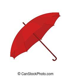 parapluie, ouvert, dessin animé, vecteur, parasol, style.