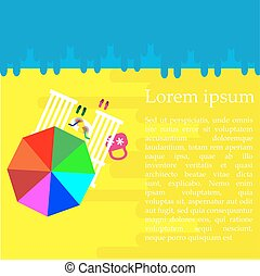 parapluie, paires, concept, été, flip-flops., bord mer, deux, vacances, arrière-plan., vector., chaise, plage, vue