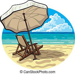 parapluie plage, chaise