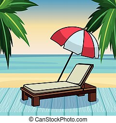 parapluie plage, sunchair, dessin animé