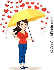 parapluie, pleuvoir, cœurs