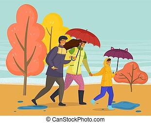 parapluie, pluie, automne, parc, saison, imperméables, ...