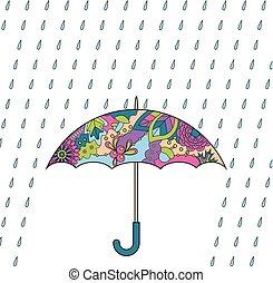 parapluie, pluie, coloré