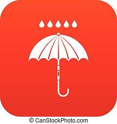 parapluie, pluie, numérique, gouttes, rouges, icône