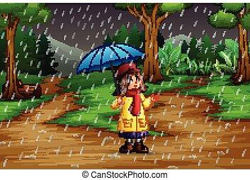 parapluie, pluie, porter, forêt, sous, girl, dessin animé