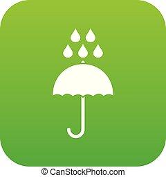 parapluie, pluie, vert, numérique, gouttes, icône