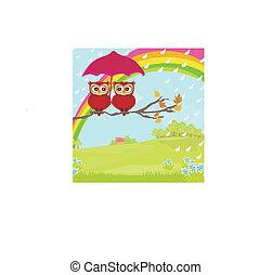 parapluie, pluvieux, couple, automne, hiboux, sous, jour